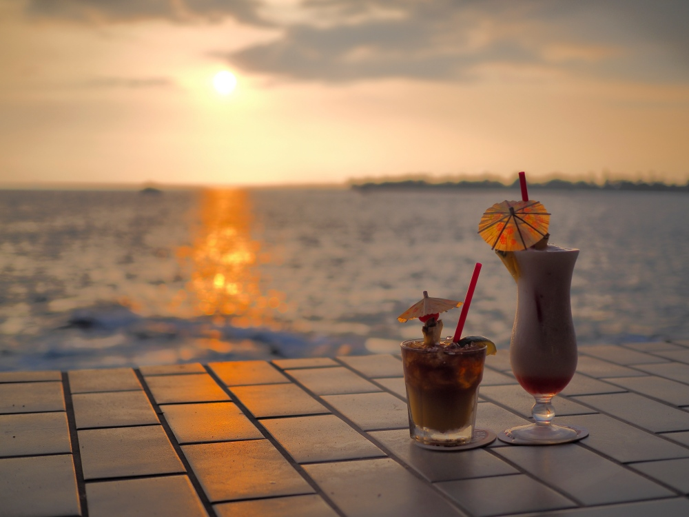 Mai Tai and Lava Flow at sunset